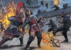 Ninja in battle: A casttle raid during a siege