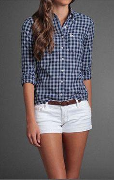 #looks #spring #primavera #fashion #Abercrombie #Shorts #camisa #xadrez #checkedshirt