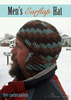 Free Crochet Pattern - Mens Earflap Hat!  I think I can make this into Ma Cobb's hat.