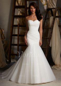 Brautkleider - $199.99 - Trompete/Meerjungfrau-Linie Herzausschnitt Sweep/Pinsel zug Tüll Brautkleid mit Rüschen (00205002585)