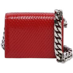 Calvin Klein 205w39nyc Women Micro Python Leather Bag (£795) ❤ liked on Polyvore featuring bags, handbags, shoulder bags, red, red leather shoulder bag, leather purses, leather shoulder handbags, red shoulder bag and real leather shoulder bags