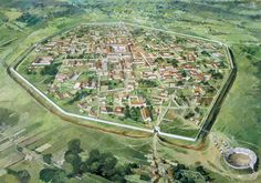 Silchester Roman City Walls, reconstruction drawing by Ivan Lapper
