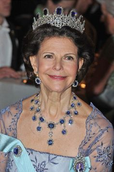 Queen Silvia of Sweden attends the Nobel Banquet after the 2012 Nobel Peace Prize Ceremony on 10 Dec in Stockholm