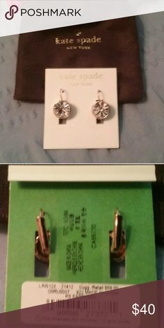 RETIRED KS Leverback Bezel Crystal Earrings Gold-tone Leverback earrings.  Gold-tone bezel surrounding crystal stones. Worn just a few times. Cleaned every time and always kept in dust bag. Smoke free home. Authentic item. RETIRED. kate spade Jewelry Earrings