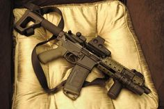AR15 SBR with EOTech sight, Troy iron backup sights, and magpul hardware