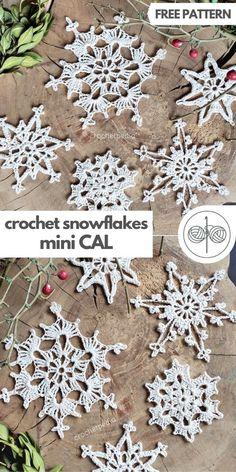 Easy Crochet Snowflakes Mini CAL - Free Patterns! | Crochetpedia Free Crochet Snowflake Patterns, Crochet Ornament Patterns, Crochet Christmas Stocking Pattern, Crochet Christmas Decorations, Crochet Christmas Ornaments, Crochet Snowflakes, Holiday Crochet, Christmas Snowflakes, Easy Patterns