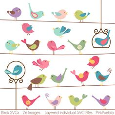 Birds SVGs Birds Cutting Templates  Commercial and by PinkPueblo. , via Etsy.