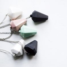 Pink, green pastel and black & white necklace with chain and crystal look