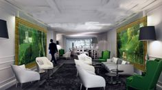 """Renaissance Hotel Le Parc Trocadero 5*****, Paris. France. Hall & Bar hotel by Jean-Philippe Nuel. « Un hôtel moins contemporain à la demande du client. Une volonté qui correspond à une approche de """"l'après-crise"""", à un retour à des valeurs plus rassurantes. » http://www.artravel.net/jean-phillipe-nuel/#"""