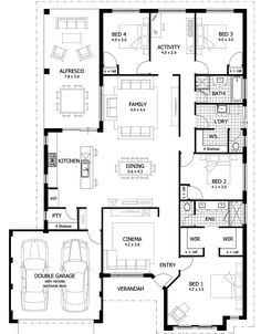 Over 35 large, premium house designs, and house modern house plans, dream h 4 Bedroom House Plans, New House Plans, Dream House Plans, Modern House Plans, House Floor Plans, Home Design Floor Plans, Kitchen Floor Plans, Plan Design, The Plan