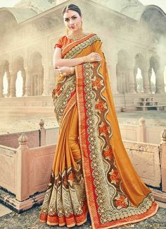 767484 Orange color family Embroidered Sarees,Party Wear Sarees in Faux Georgette fabric with Machine Embroidery,Thread work with matching unstitched blouse. Bollywood Designer Sarees, Indian Designer Sarees, Latest Designer Sarees, Designer Sarees Collection, Saree Collection, Indian Fashion, Womens Fashion, Georgette Fabric, Thread Work