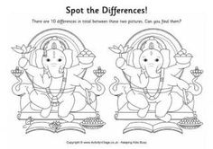 Can you find the 10 differences between these two pictures of Ganesha? Look carefully! Super Coloring Pages, Colouring Pages, Puzzles For Kids, Games For Kids, Diwali Games, Paper Games, Les Religions, Main Theme, Happy Diwali
