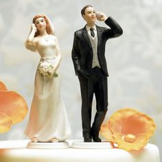 Cell Phone Bride & Groom Humorous Wedding Cake Toppers (Wedding Star 8512) | Buy at Wedding Favors Unlimited (http://www.weddingfavorsunlimited.com/cell_phone_bride_groom_cake_toppers.html).