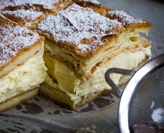 Karpatka, a Polish version of a vanilla custard slice is made with sheets of choux pastry filled with a creamy, light layer of custard cream.