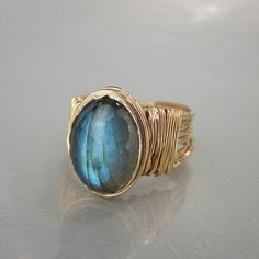 Summer Sale Labradorite Ring, Natural Labradorite, Gold Filled Ring, Oval Labradorite Ring, Statement Ring, Labradorite Gemstone Ring  Silver bezel