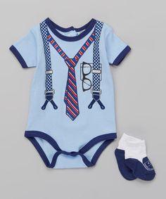 Loving this Blue Suspender Bodysuit & Socks on #zulily! #zulilyfinds