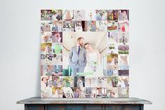 Technically, this isn't a photo wall, but it IS a great way to display a lot of your favorite photos from your wedding or shoot without spending a lot on a bazillion canvases. I would LOVE for a client to try this.