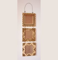 Three 3x3 inch hanging Wood Henna Frames set with by NewWorldHenna, $42.00