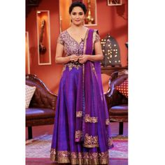 Madhuri Dixit Purple Floor Length Anarkali At Comedy Nights With Kapil