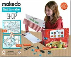 Makedo Find & Make Shop - 57 pc by Makedo. $16.90. Your child can create their own lemonade stand with this kit.. Invites imagination and innovation.. Designed for creation, disassemble to reuse again & again.. Kit includes: 26 clips, 4 lock-hinges, 1 safe saws and shop inspired sticker sheets, step by step instructions. Can be used with: large cardboard box, egg cartons. Included poster for inspiring ideas.. For the entrepreneur in your home - create a store window.. You...
