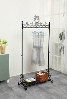 Chic And Sturdy Garment Rack Clothing Racks With Bottom Shelf For Shoes Metal Hanging Clothes Stand