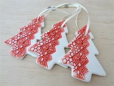 Christmas decorations, ornaments. Red ceramic Christmas trees. Teachers gift. More