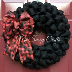 Red and Black Wreath - Black Burlap Wreath - Red and Black Plaid Ribbon Wreath - UGA Inspired Wreath - UGA Burlap Wreath - Team Wreath by MsSassyCrafts on Etsy https://www.etsy.com/listing/244263678/red-and-black-wreath-black-burlap-wreath
