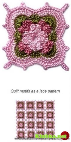Many gorgeous Crochet Motifs with charts! by Nancy Jones Crochet Square Pattern, Crochet Motifs, Crochet Blocks, Square Patterns, Crochet Squares, Thread Crochet, Crochet Crafts, Crochet Projects, Crochet Stitches