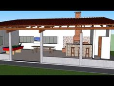 Área de Churrasco e Lazer - YouTube Patio Gazebo, Backyard Patio Designs, Modern Backyard, Pergola, House Outside Design, House Design, Barbecue Area, Bbq Grill, Carport Designs