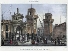 Venezia, Erterno dell'Arsenale (National Library of Poland - 1847, lithography)