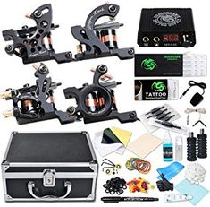 Dragonhawk Complete Tattoo Kit 4 Craft Machines Gun Tattoo Power Supply Needles Foot Pedal Grips with Case (Coils Craft Machines Kit) ** Check this awesome product by going to the link at the image. (This is an affiliate link) Coil Tattoo Machine, Rotary Tattoo Machine, Samurai Warrior Tattoo, Beginner Tattoos, Framed Tattoo, Tattoo Power Supply, Tribal Shoulder Tattoos, Taurus Tattoos, Demon Tattoo