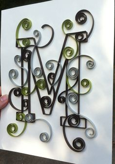 Custom Created Quilled Monogram 8x10 M by Allthingsmadebykelly, $20.00