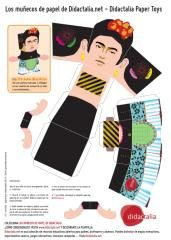 Frida Kahlo recortable. Todos los pintores en muñequitos armables.