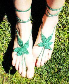 HiPPiE WEED feet - Original design - Hand Crochet Barefoot Sandals - Grass Green  Wherijuana loves fashion.