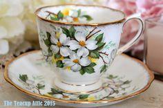Royal Albert White Dogwood Flower Teacup and Saucer Set, Countess Shaped Teacup, Wedding Gift, English Teacup,  ca.1940