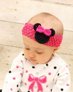 Crochet Minnie Mouse Pink  headband one size fits by jwhizcrochet, $5.00