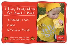 Your little one will be the talk of the block with this crafty costume! Just pick your favorite flavor and follow steps 1,2,3!