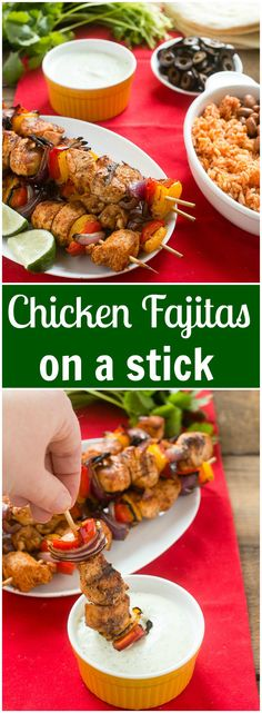 Try something a little different this Cinco de Mayo! These chicken fajitas on a stick with creamy cilantro dipping sauce make a great appetizer or main course.