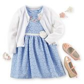 Soft white over pretty blue lace is perfect for pictures with the Easter Bunny. Don't forget shiny shoes!