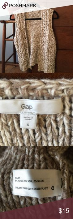 Gap knit wool vest Taupe and cream knit vest. No closure, shrug style. Wool blend. So cute for winter! GAP Jackets & Coats Vests