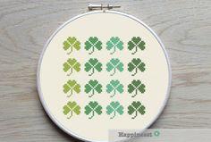 modern cross stitch pattern shamrock, PDF ** instant download** by Happinesst on Etsy https://www.etsy.com/listing/223742013/modern-cross-stitch-pattern-shamrock-pdf