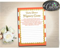 Baby Shower MEMORY game with orange strips theme printable, baby shower glitter gold, digital file jpg pdf, instant download - bs003 #babyshowerparty #babyshowerinvites