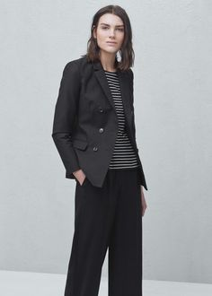 Double-breasted cotton blazer | MANGO