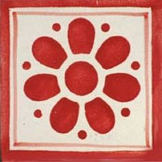 Talavera tile with Daisy May Red pattern for kitchen backsplash wall and counter. It has red design hand painted over white background. Red Design, Tile Design, Contemporary Kitchen Backsplash, Bad Set, Daisy May, Bathroom Red, Bathroom Flowers, Tile Bathrooms, Bathroom Wall