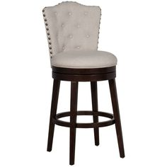 Place the Hillsdale Furniture Edenwood Swivel Bar Stool by your bar for a comfortable place to sit. Classically designed stool features cream upholstery and is constructed of wood with a chocolate finish, nailhead trim, and swivel functionality. Cream Bar Stools, Swivel Bar Stools, Swivel Chair, Counter Height Dining Table, Wood Counter, Bar Counter, Grey Bar, Hillsdale Furniture, Traditional Lighting