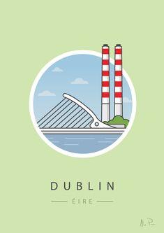 Poolbeg and Beckett Bridge, Dublin. Print by Alan Power - Jam Art Prints City Illustration, Creative Illustration, Irish Design, Dublin City, Irish Art, Everyday Objects, Local Artists, Sign Design, Print Patterns