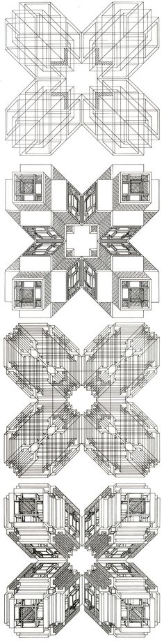 """S.Tigerman and G.L. Crabtree: The Formal Generators of Structure, 1975: """"...a sequence of drawings which explore orthogonal forms. The research starts from the square and the cross, two forms which are considered as the basis of a large part of plans and structures which have been historically developed by man. .."""""""