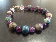 Weight loss - Blue Apatite, Amethyst, Larvikite, & Quartz Bracelet - Healing Crystal Bracelet
