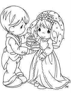 Precious Moments wedding couple with cake