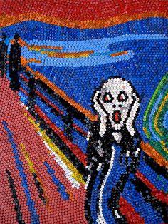 Sin Título. El Grito de Munch. Tapitas plásticas sobre tela. 240 x 180 cm. 2011